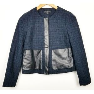 Ann Taylor size 4P blue tweed blazer